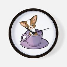 Coffee Cup Chihuahua Wall Clock