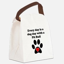 Pit Bull Dog Day Canvas Lunch Bag