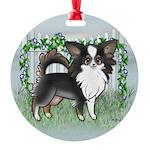 GF Chihuahua- Tri Long Standing Round Ornament