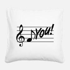 Music Note F You Square Canvas Pillow
