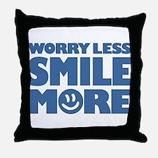 Worry Less Smile More - Smiley Face Throw Pillow