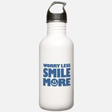 Worry Less Smile More - Smiley Face Water Bottle