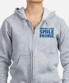 Worry Less Smile More - Smiley Face Zip Hoodie