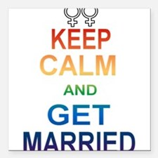 Keep Calm And Get Married Female Symbol. Square Ca