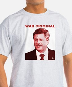 Stephen Harper War Criminal Ash Grey T-Shirt