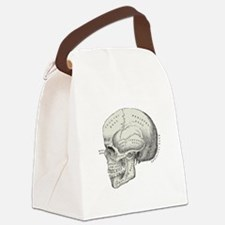 antique typographic vintage skull Canvas Lunch Bag