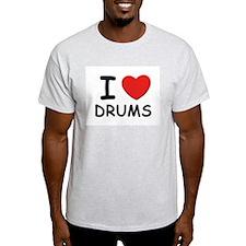 I love drums Ash Grey T-Shirt