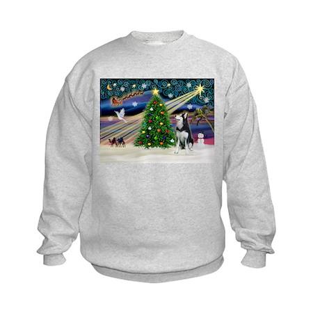 XmasMagic/Siberian Husky Kids Sweatshirt