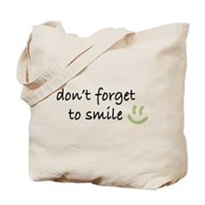 Don't Forget to SMILE - Green Happy Face Tote Bag