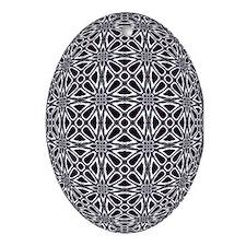 Retro Web Black & White Oval Ornament