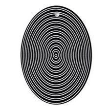 Concentric Circles Illusions Geek Oval Ornament