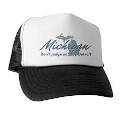 Michigan Dont Judge Trucker Hat