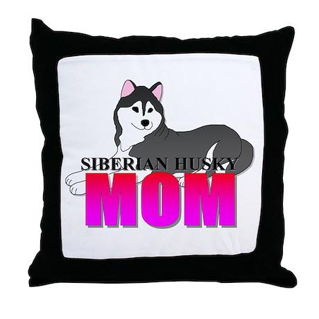 Black Siberian Husky Mom Throw Pillow