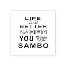 """Sambo Martial Arts Designs Square Sticker 3"""" x 3"""""""
