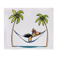 Yorkie Island Princess Throw Blanket