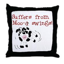 Moo-d Swings Throw Pillow