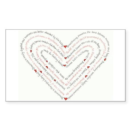 Breastfeeding Heart Sticker (Rectangular