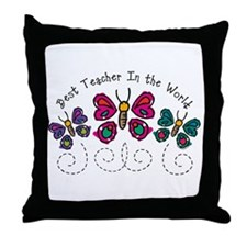 Butterfly Best Teacher Throw Pillow