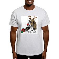 Basset Hound Christmas Ash Grey T-Shirt