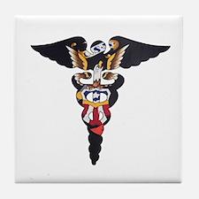 Navy Caduceus Eagle Tile Coaster