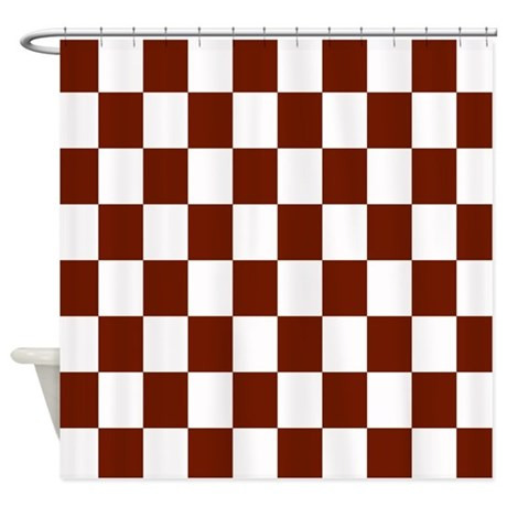 Brown And White Checkerboard Shower Curtain By Crazycheckerboards