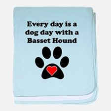 Basset Hound Dog Day baby blanket