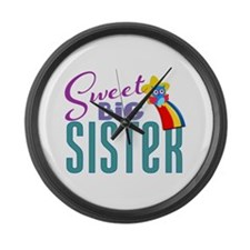 Sweet Big Sister Owl Large Wall Clock
