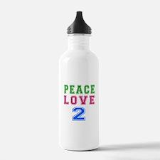 Peace Love 2 birthday designs Water Bottle