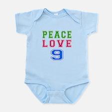 Peace Love 9 birthday designs Onesie