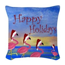 Santa Flamingo Family Beach Woven Throw Pillow