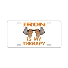 Iron Is My Therapy Aluminum License Plate