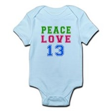 Peace Love 13 birthday designs Onesie