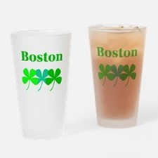 I Love Boston Green Hues Clovers Drinking Glass