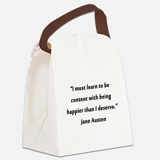 Austen - Learn to Be Content Canvas Lunch Bag