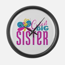 Cutest Big Sister Butterfly Large Wall Clock