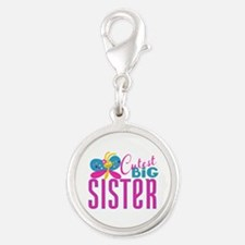 Cutest Big Sister Butterfly Silver Round Charm