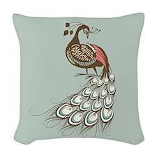Elegant Peacock Woven Throw Pillow