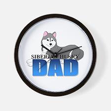 Gray Siberian Husky Dad Wall Clock