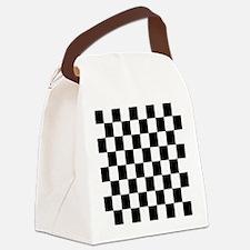 Classic Black Checkered Flag Canvas Lunch Bag