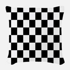 Classic Black Checkered Flag Woven Throw Pillow