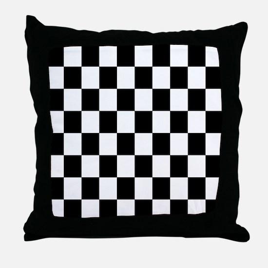 Classic Black Checkered Flag Throw Pillow