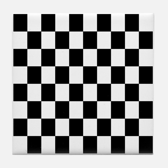 Classic Black Checkered Flag Tile Coaster