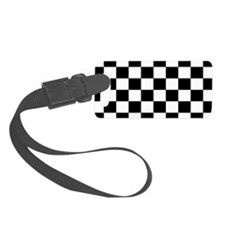 Black and White Checkerboard Luggage Tag