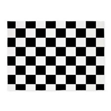 Black and White Checkerboard 5'x7'Area Rug