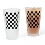 Black and white checkered Pint Glasses