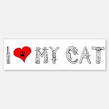 I love my cat / heart Bumper Bumper Bumper Sticker