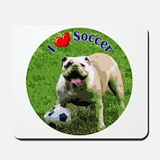 I Love Soccer Bulldog Mousepad