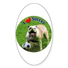 I Love Soccer Bulldog Oval Decal