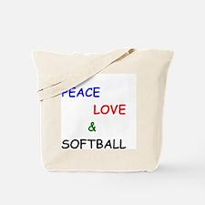 Peace Love and Softball Tote Bag