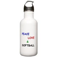 Peace Love and Softball Water Bottle